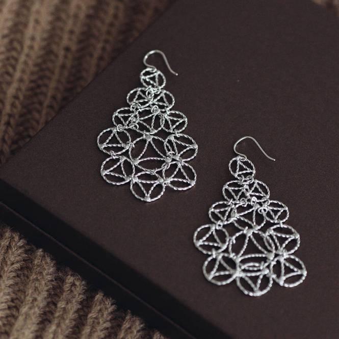Silver Lace Chandelier Earrings