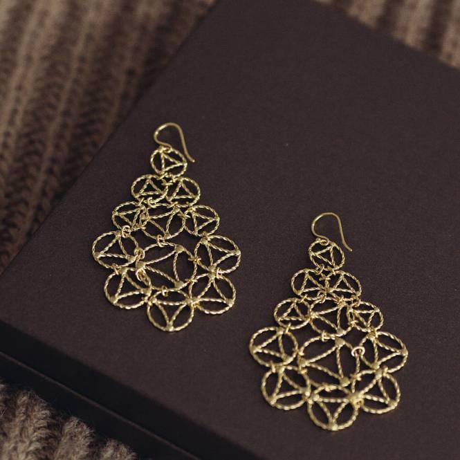 Yellow Gold Lace Chandelier Earrings