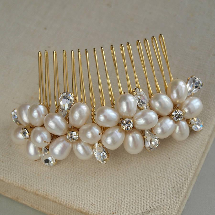 dew pearl wedding hair comb