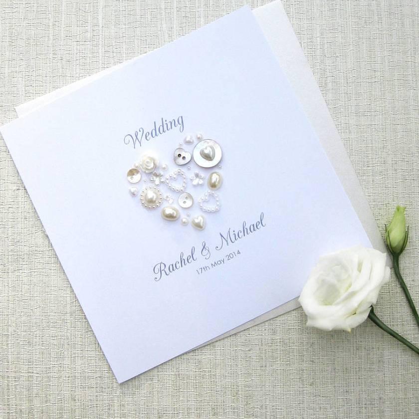 38 Homepage Sweet Dimple Pearl Heart Personalised Wedding Invitations