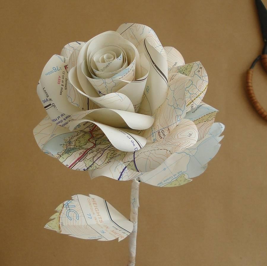 Map Paper Rose By Suzi Mclaughlin