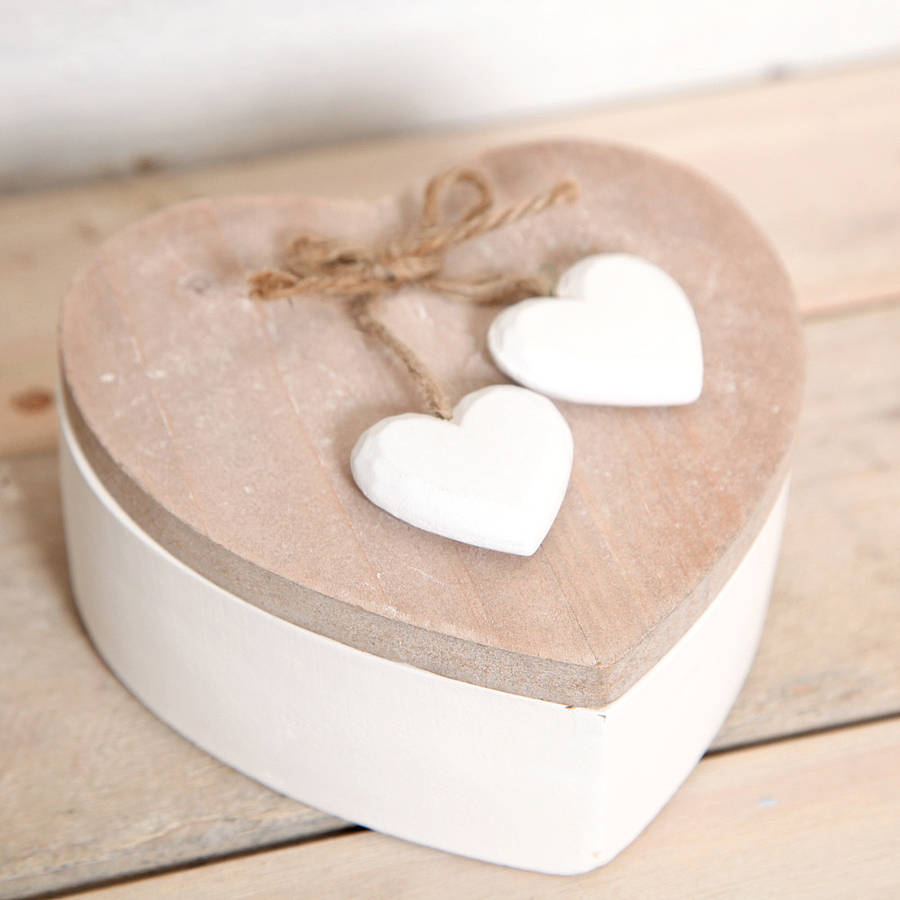 Wooden Heart Shaped Trinket Box By Red Berry Apple
