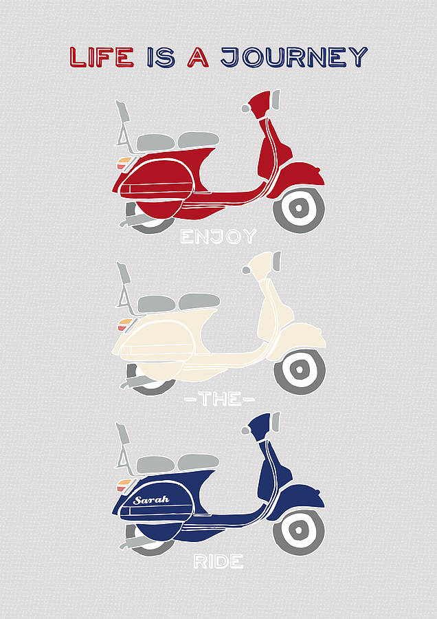 Personalised Retro Vespa Scooter Print By Wink Design
