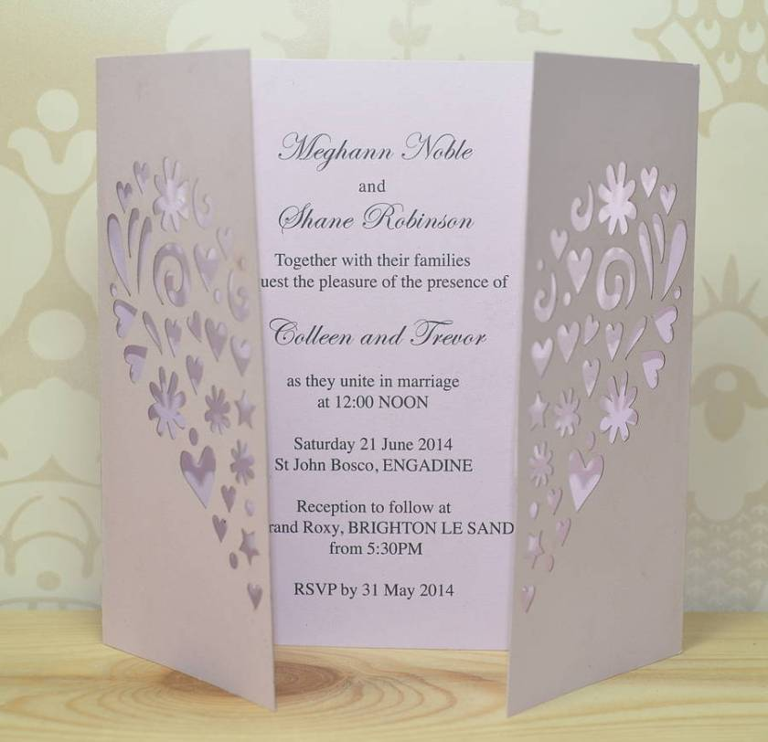 Heart Laser Cut Gatefold Wedding Invitation