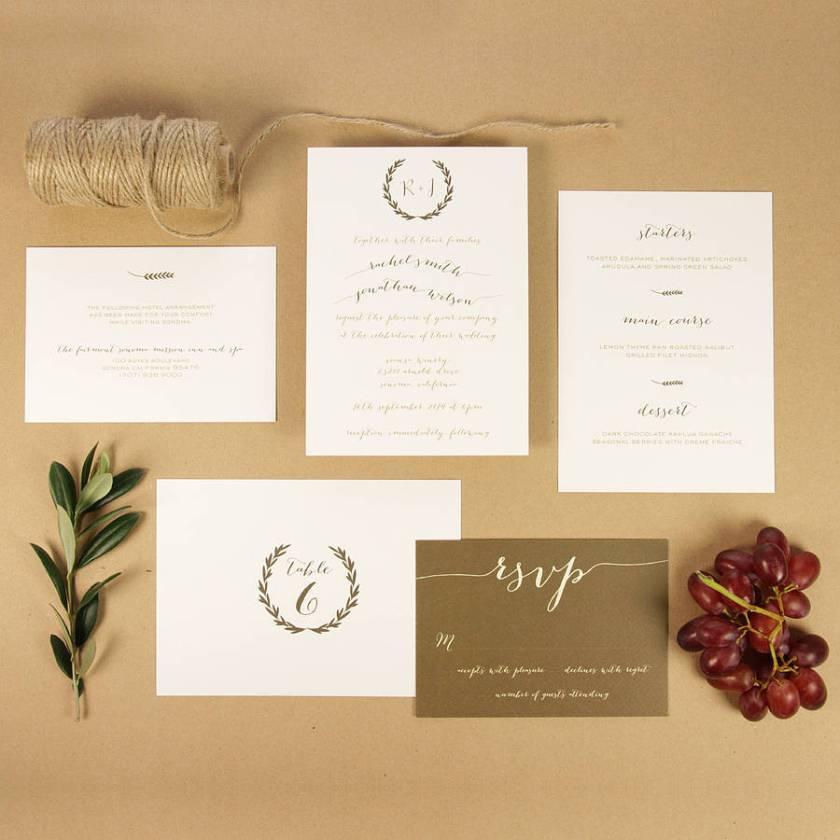 Tuscany Wreath Wedding Invitation