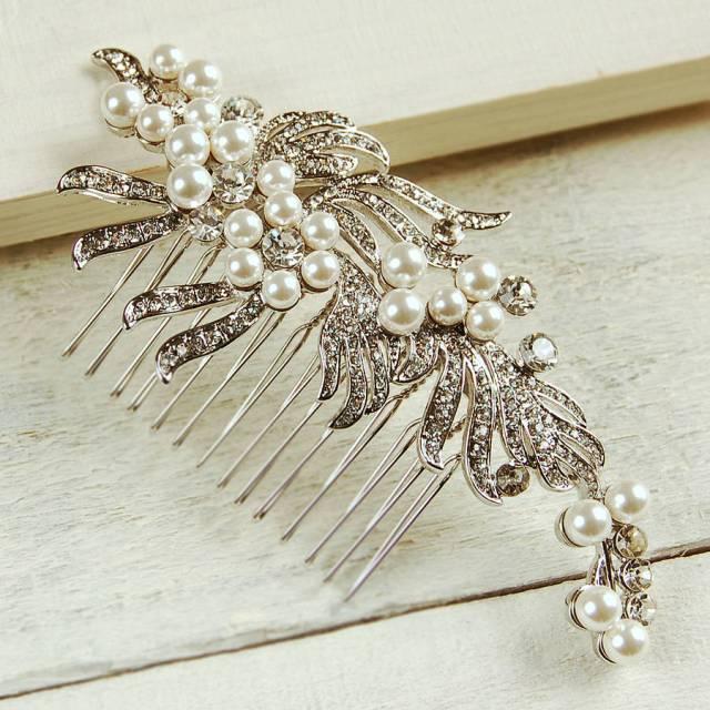 ribbon pearl wedding hair comb