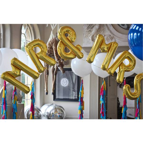 mr and mrs jumbo metallic letters by bubblegum balloons     Mr And Mrs Jumbo Metallic Letters