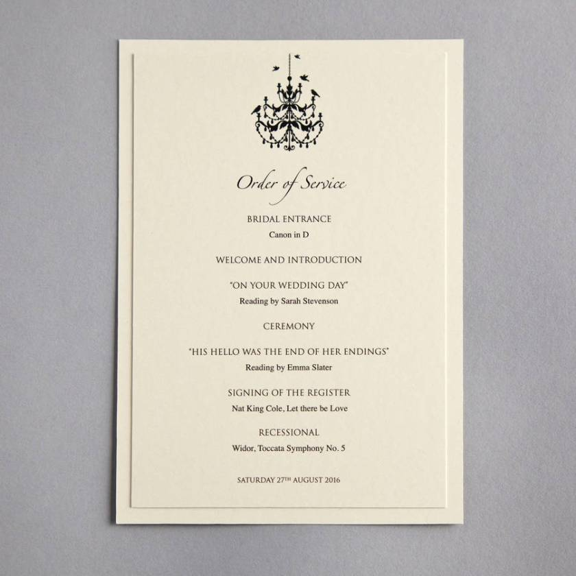 Chandelier Order Of Service Menu Place Cards Wedding Invitation
