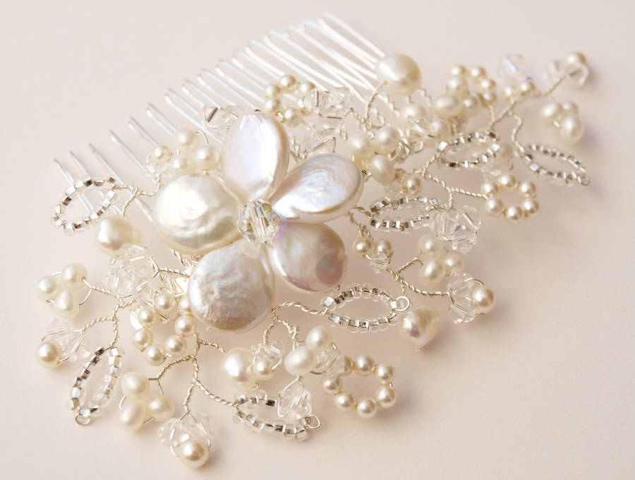 lace pearl and crystal bridal hair comb