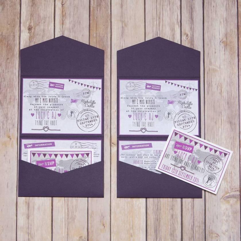 Pocketfold World Map Personalised Wedding Invitation