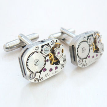 Vintage Steampunk Watch Mechanism Cufflinks Unique And Quirky Gift Ideas Any Odd Person Will Appreciate (Fun Gifts!)