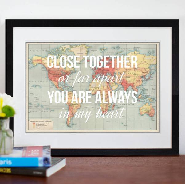 personalised long distance map print by of life   lemons     Personalised Long Distance Map Print