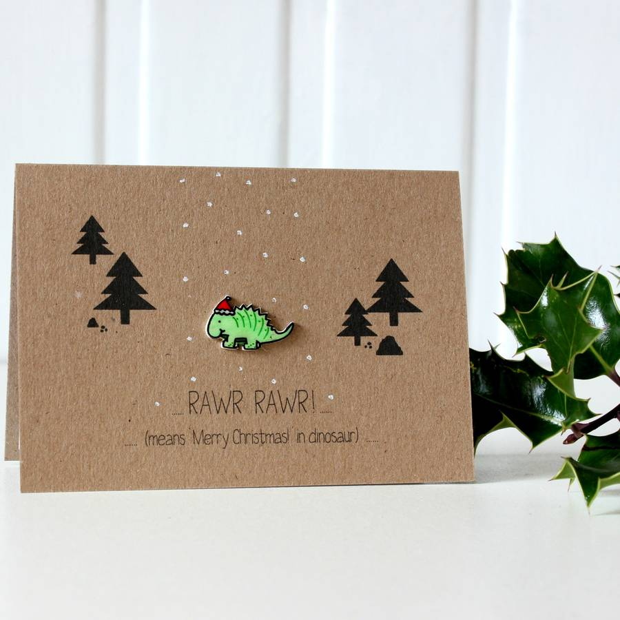 Dinosaur Christmas Card Rawr Merry Christmas Dinosaur By