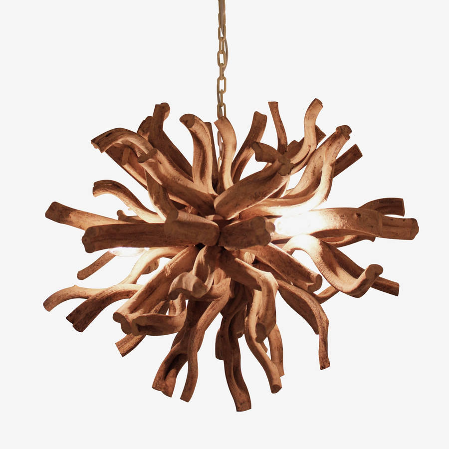 Large Round Driftwood Inferno Chandelier By Cowshed