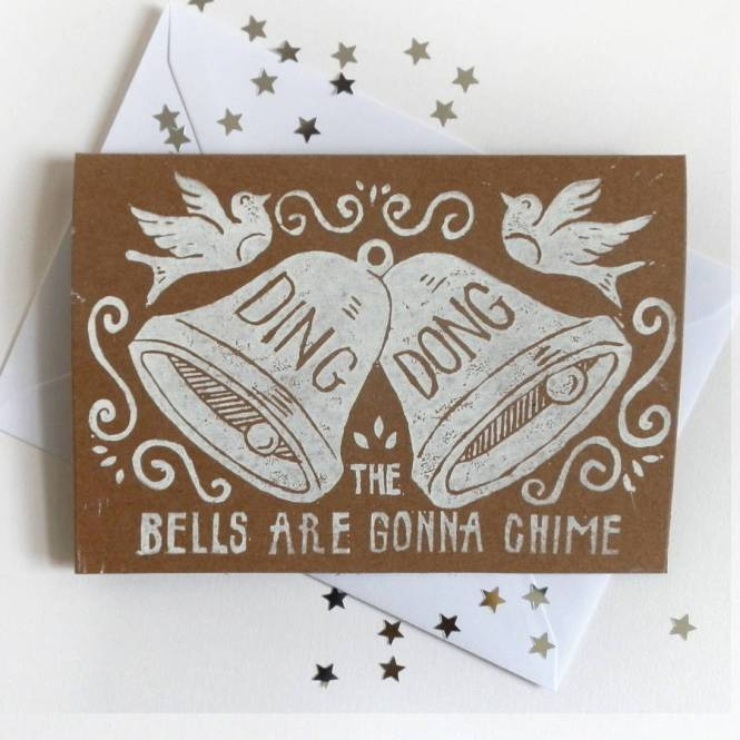 Linocut Wedding Bell Card By Woah There