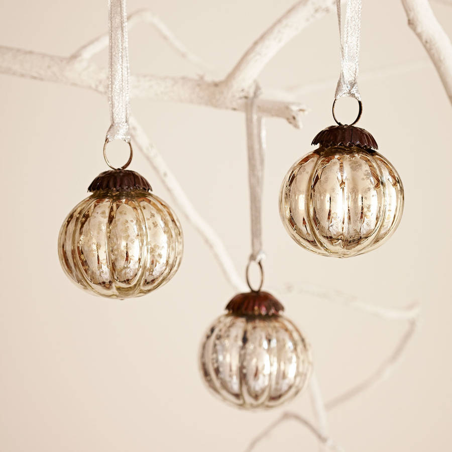 Set Of Three Antique Effect Glass Christmas Baubles By