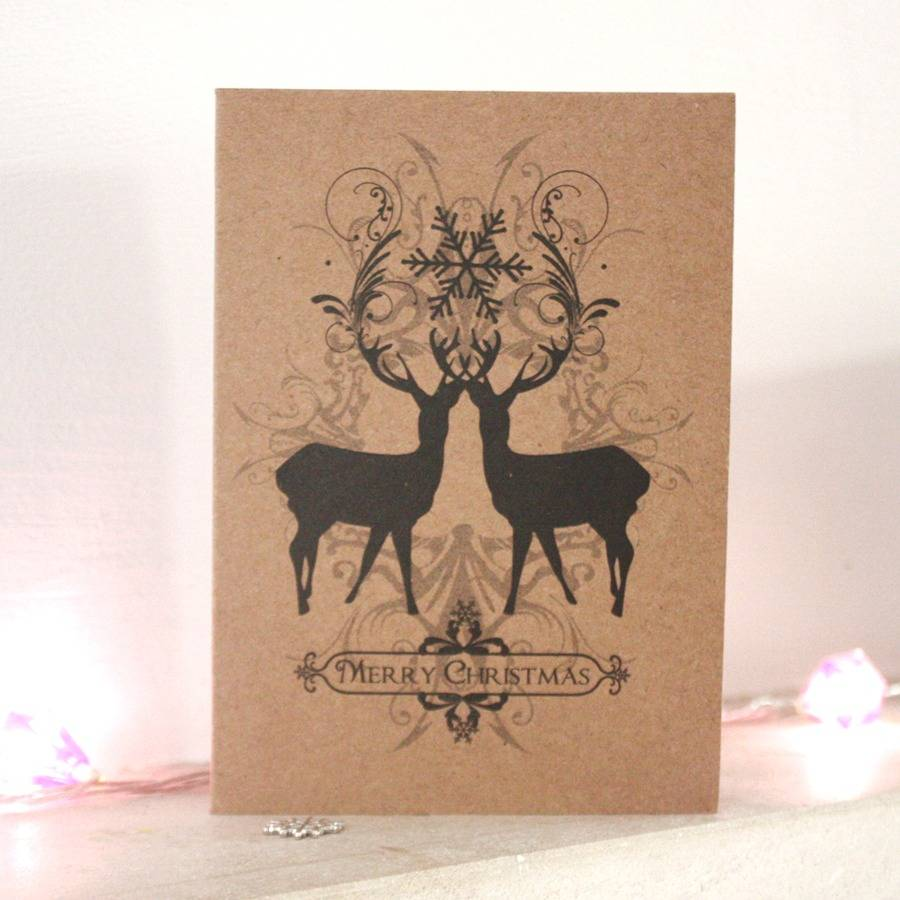 Deer Design Christmas Cards Pack Of Five By Hullaballoo