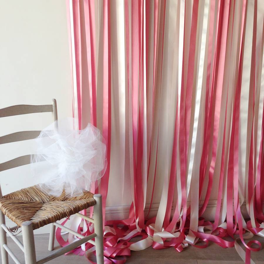 Pink And Cream Ribbon Backdrop On White Pole With Ivy By Just Add A Dress