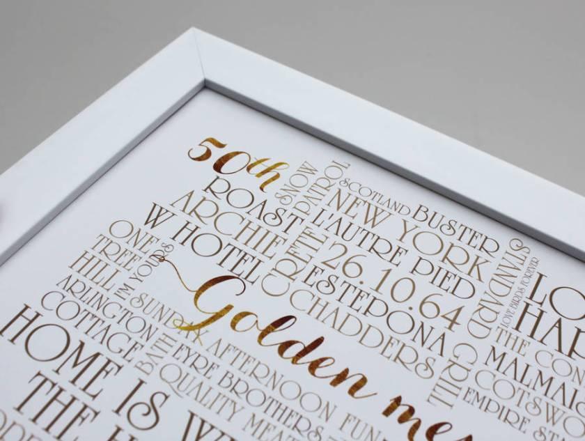 Personalised Golden 50th Wedding Anniversary Print