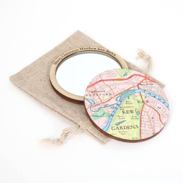 personalised map location compact pocket mirror for her by bombus     Personalised Map Location Mirror For Her kew gardens