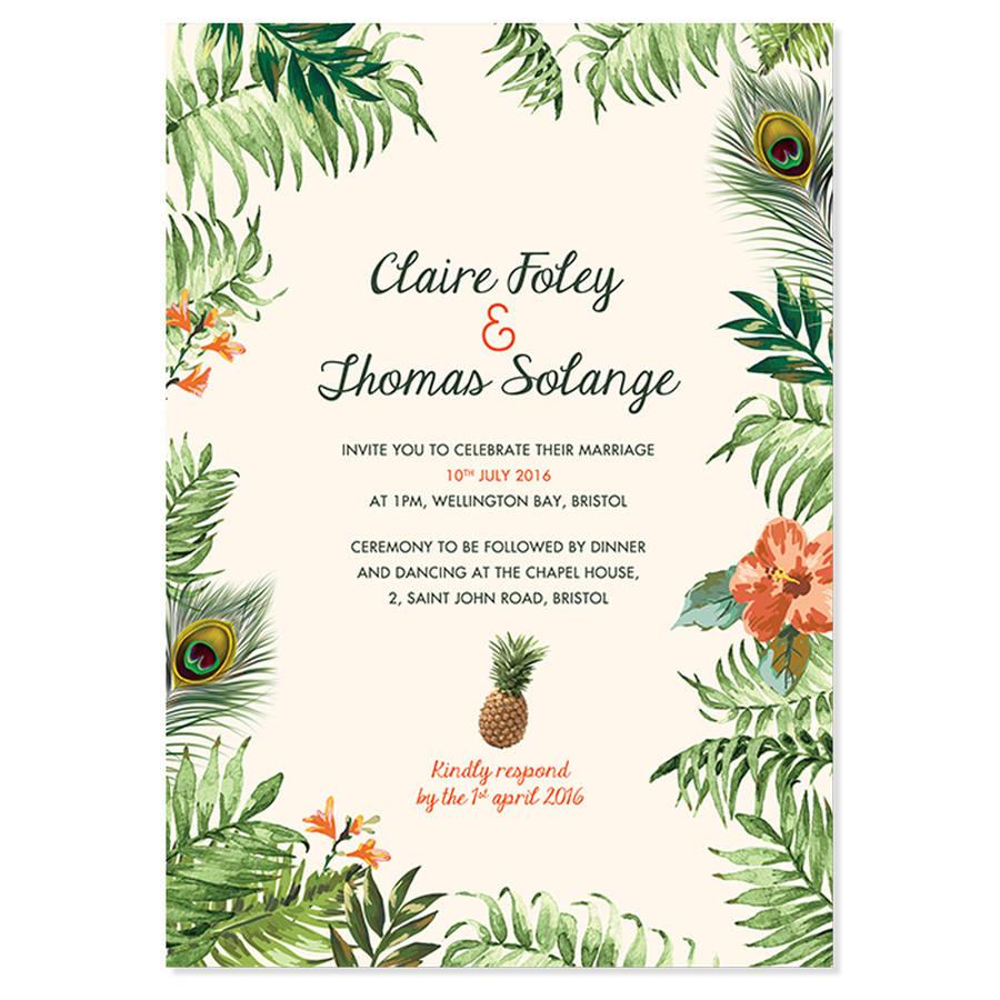 Tropical Jungle Wedding Invitation By Pepper Amp Joy