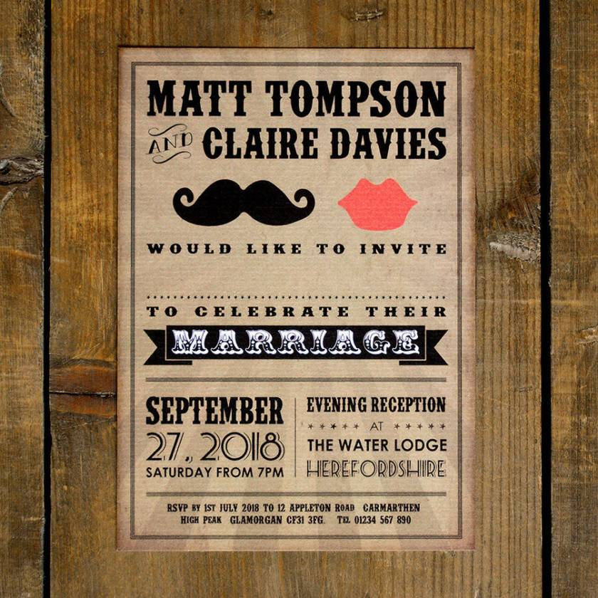 Moustache And Lips Wedding Invitation Save The Date