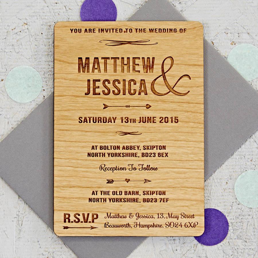 Arrow Wooden Wedding Invitation By Sophia Victoria Joy