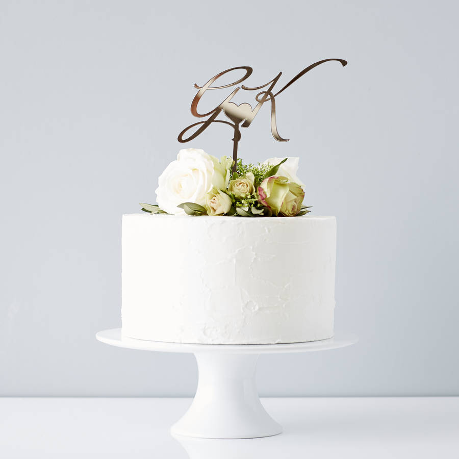 Elegant Personalised Initials Wedding Cake Topper By