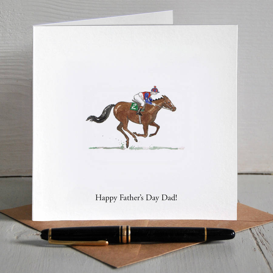 Race Horse Illustrated Personalised Fathers Day Card By