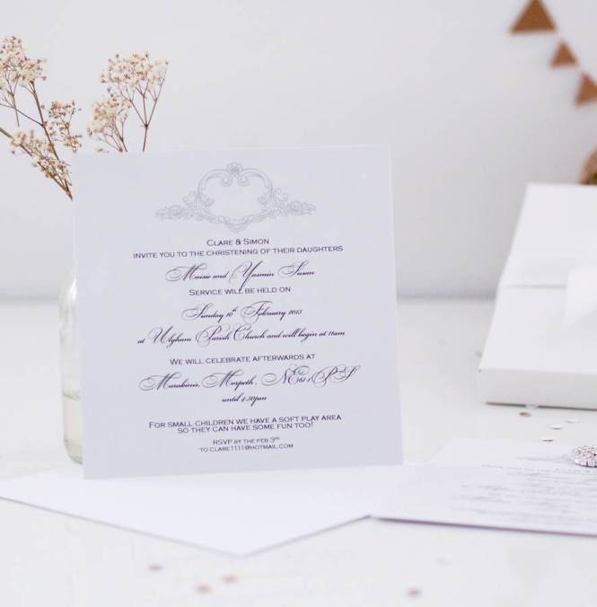 Pack Of Five Simple Flat Card Christening Invitations