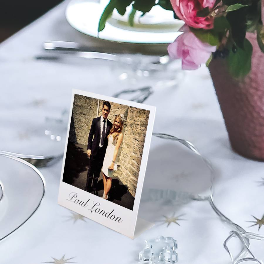 Personalised Mini Stand Up Place Setting Photo Cards By