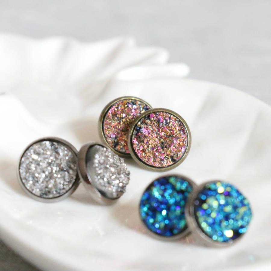 Sparkling Druzy Stud Earrings By Little Nell
