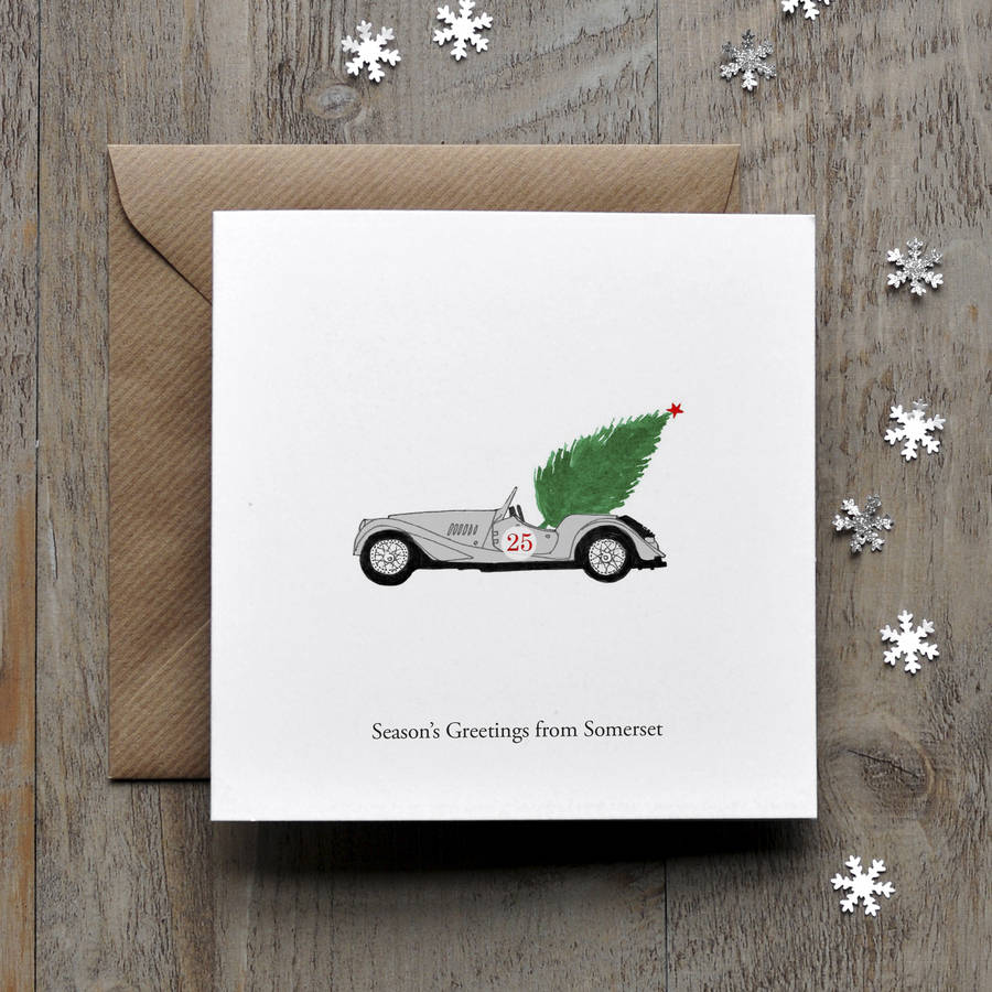Morgan Vintage Car Personalised Christmas Card By Honey