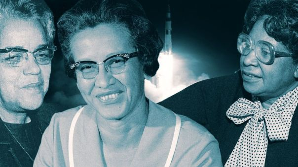 Katherine Johnson, Dorothy Vaughan and Mary Jackson with rocket in background