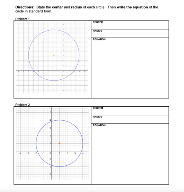 SOLVED:Directions: State the center and radius of each circle