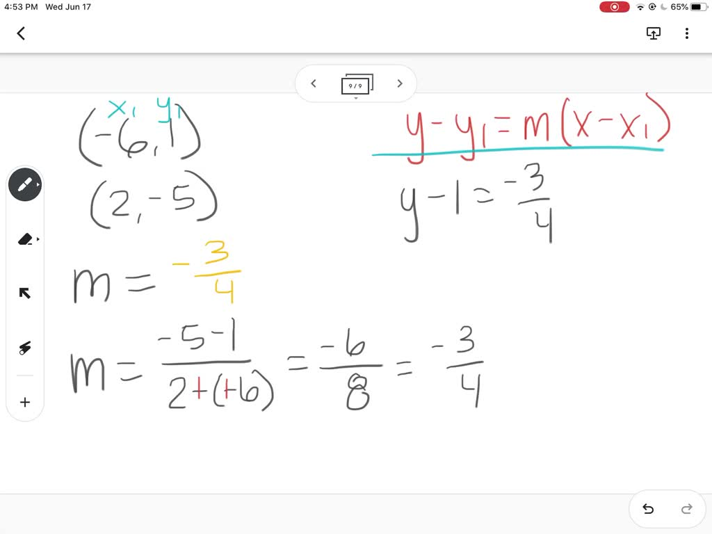 Write The Point Slope Form Of The Equation Of The