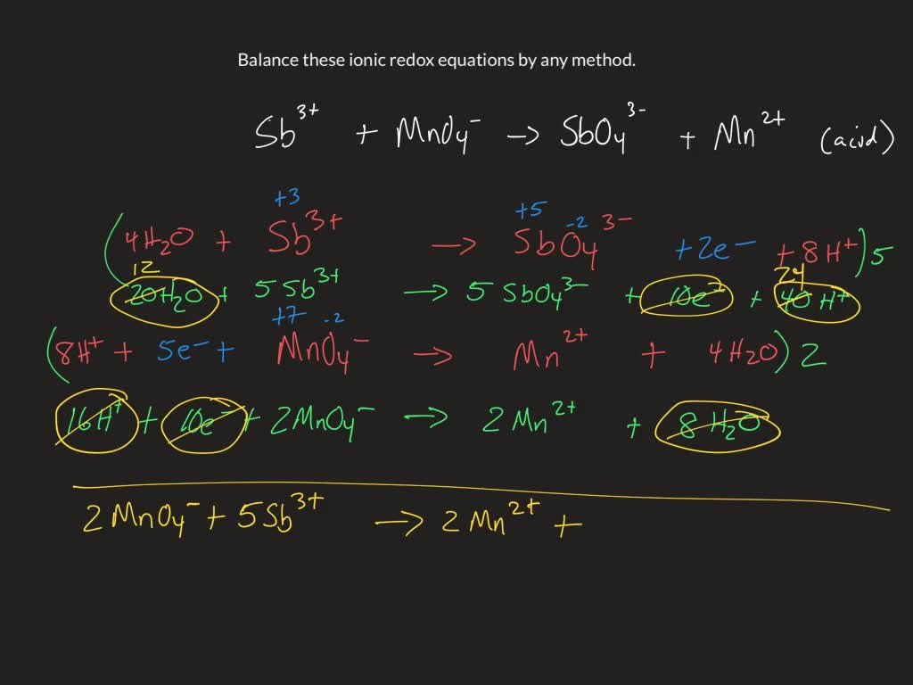 Balance These Ionic Redox Equations By Any Method