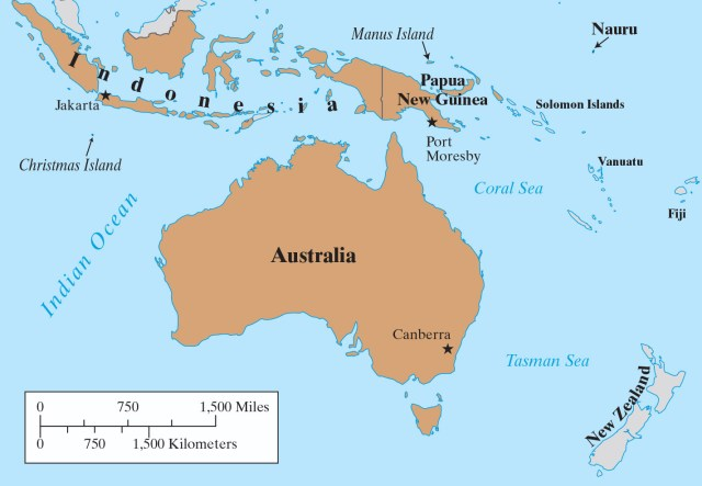 Map of Australia with Indonesia, Papua New Guinea and New Zealand