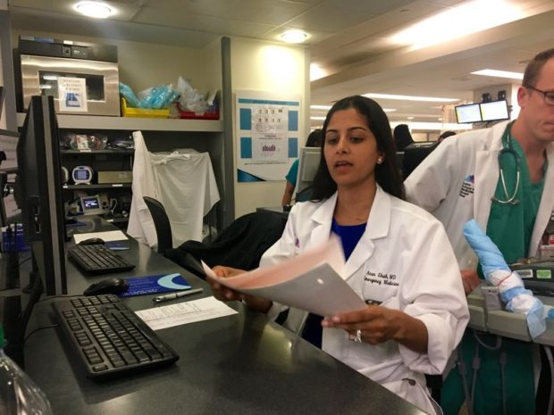 Dr. Anar Shah works in the emergency room at Mount Sinai Hospital in Harlem (Sarah Gonzalez / WNYC)