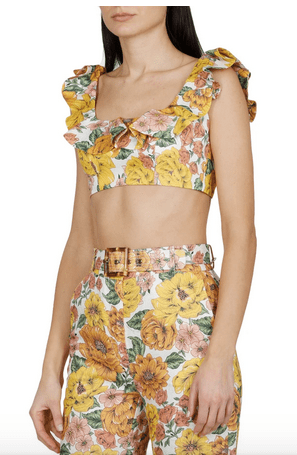 floral bare midriff top
