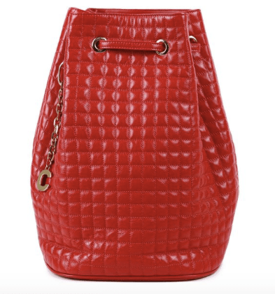 red C-Charm Leather Bucket Bag