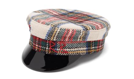 Vinyl brim striped cap