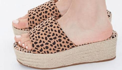 cheetah platform sandals
