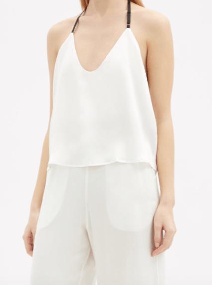 Contrasting-strap Silk Pajamas