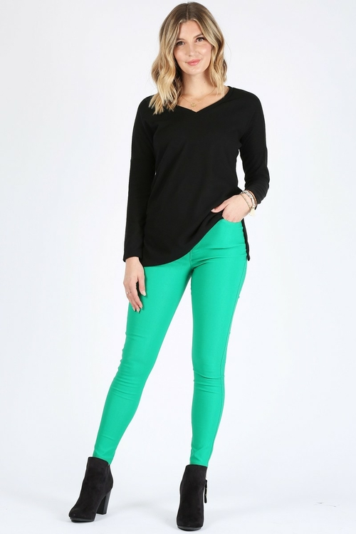 1237.High rise skinny fit trousers, banded waist, pocket detail.