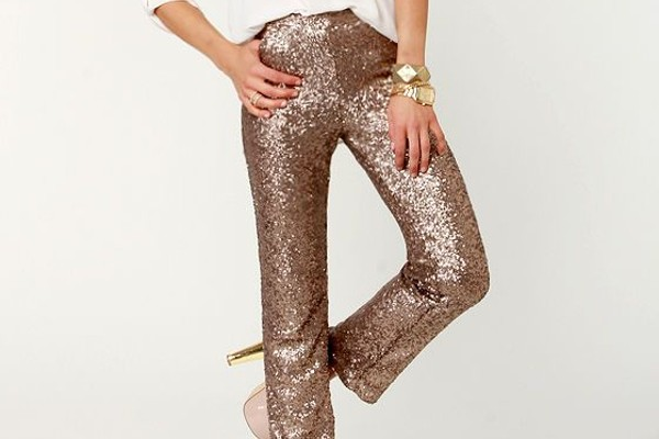 Wearing bronze color pants in office.
