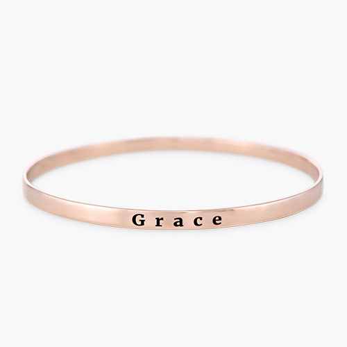 Engraved Bangle Bracelet, Rose Gold Plated