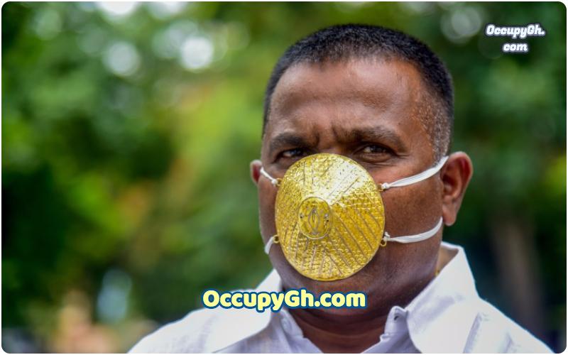 indian man wearing gold mask