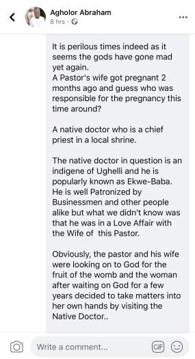 juju man impregnates pastor wife