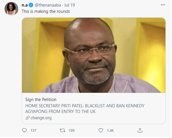 'Ban Kennedy Agyapong from entering UK' – Nana Aba promotes online petition (screenshot). 52